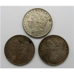 3-MORGAN SILVER DOLLARS:  1888-1890
