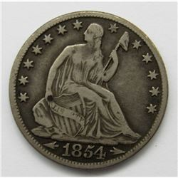 1854-O ARROWS AT DATE SEATED HALF