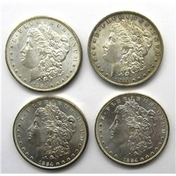 4- 1884-O MORGAN SILVER DOLLARS