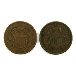 (2) 1865 TWO CENT PIECES