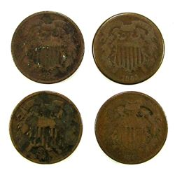 (4) 1864 TWO CENT PIECES