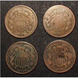 1866, '67, '68, '70 TWO CENT PIECES