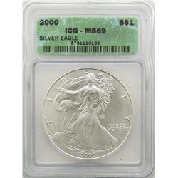 2000 AMERICAN SILVER EAGLE ICG MS69