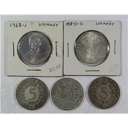 GERMANY 5 MARKS SILVER COIN LOT: