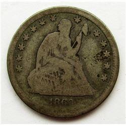 1860-O SEATED LIBERTY QUARTER VG