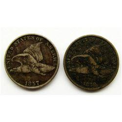 1857 & 1858 FLYING EAGLE CENTS VF