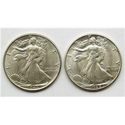 1942 & 1943 WALKING LIBERTY HALF DOLLARS