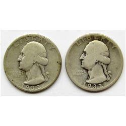 1932-D & 1932-S WASHINGTON QUARTER DOLLARS