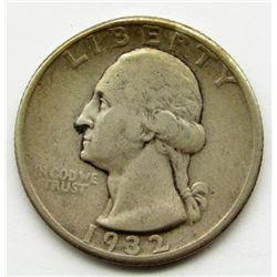 1932-D WASHINGTON QUARTER F/VF KEY DATE