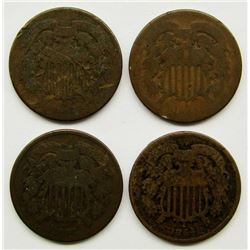 4- 1864 TWO CENT PIECES