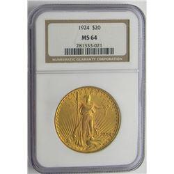 1924 $20 ST GAUDENS GOLD NGC MS 64