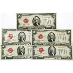 5 - 1928 AU/UNC $2 RED SEAL NOTES MIXED