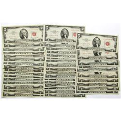 43 - AU/UNC $2 RED SEAL NOTES