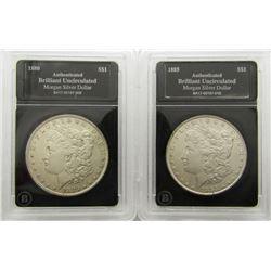 2-BU MORGAN DOLLARS: 1880 & 1885