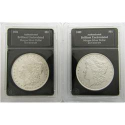 2-BU MORGAN DOLLARS: 1882 & 1889