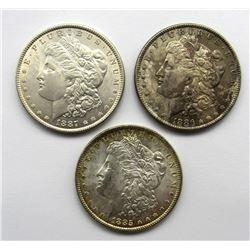 3-MORGAN DOLLARS:  1885, '86, '87