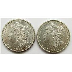 1901-O & 1880-S BU MORGAN DOLLARS