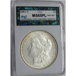 1881-S MORGAN SILVER DOLLAR NCGS MS 65 PL