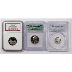 3 GRADED COINS: