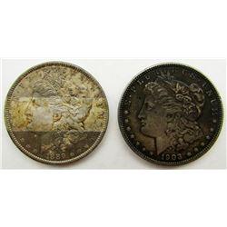 2-AU/UNC TONED MORGAN DOLLARS 1903 & 1889