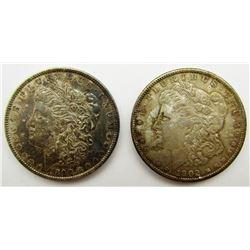 1890 & 1902-O MORGAN DOLLARS AU TONED
