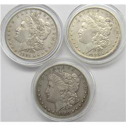 3-VG/F MORGAN DOLLARS: 1883-O, 1891,