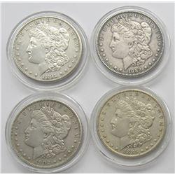4-F/XF MORGAN DOLLARS: 1885, 1889,