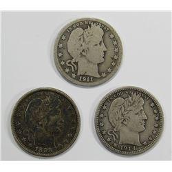 3- BARBER QUARTERS; 1898, 1911-D, 1914