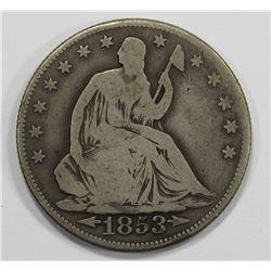 1853-O ARROWS/RAYS SEATED HALF- VG