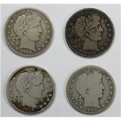 4- BARBER HALF DOLLARS: 1895-S, 1899-O, 1904-O, 19