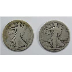 2-1916 WALKING LIBERTY HALF DOLLARS CIRCS