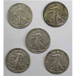 5- XF/AU WALKING LIBERTY HALF DOLLARS