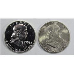 1948-D UNC & 1958 PROOF FRANKLIN HALF DOLLARS
