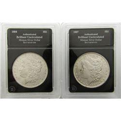 2-BU MORGAN DOLLARS: 1884 & 1887