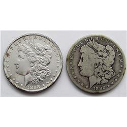 1892-O VG & 1898 UNC MORGAN DOLLARS