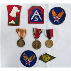 WWII US ARMY MEDAL & PATCH LOT