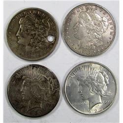 4-SILVER DOLLARS;MIXED DATES/MINT MARKS/GRADES