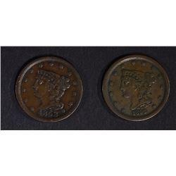 1853 & 1856 VF HALF CENTS