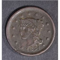 1851 LARGE CENT, XF/AU