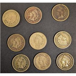 9-1862 INDIAN CENTS, CIRC