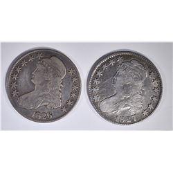 1826 & 1827 BUST HALF DOLLARS, VG/FINE