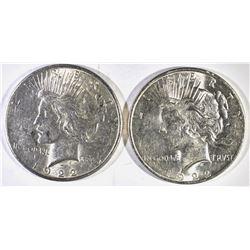 1922-D & 22-S PEACE DOLLARS, CH BU