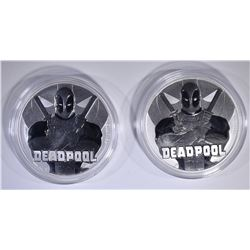 2-2018 TUALU DEADPOOL 1oz SILVER $2 COINS