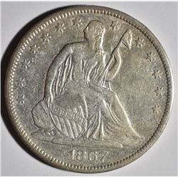 1867-S SEATED HALF DOLLAR, XF/AU