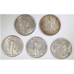 5 - 1943 WALKING LIBERTY HALF DOLLARS