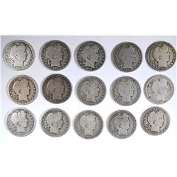 15 diff DATED BARBER HALF DOLLARS