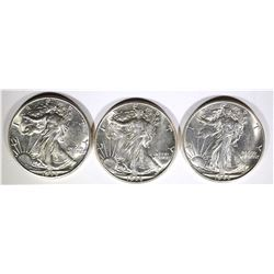 1944, 44-D & 44-S WALKING LIBERTY HALVES, CH BU