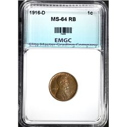 1916-D LINCOLN CENT, EMGC CH/GEM BU RB