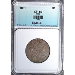 1801 LARGE CENT, EMGC XF NICE- 1/000