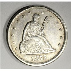 1875-CC TWENTY CENT PIECE, AU